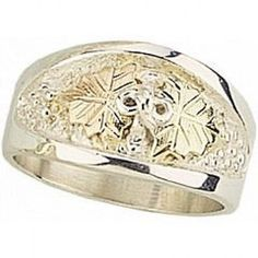 Mens Gorgeous Sterling Silver and 12k Leaves Black Hills Gold Ring