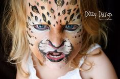 Cheetah child face paint by Daizy Design
