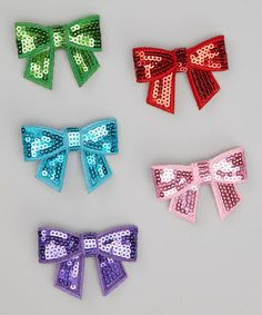 Take a look at this Red & Purple Sequin Bow Clip Set by Picki Nicki Hair Bowtique on #zulily today!
