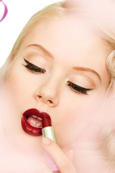 Red lip make up pin up miss mosh