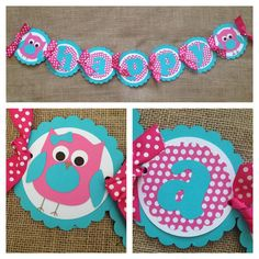 Owl Birthday Banner, Happy Birthday Banner, Pink Aqua Birthday, Look Whos Two party, Owl Baby shower, First Birthday banner
