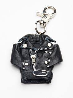 Mini Moto Jacket Bag Charm | Super cute yet edgy mini moto leather featuring metal hardware. Use as a bag charm or key chain! American made.