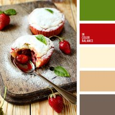 beige, beige y rojo, beige y verde, color fresa, color mermelada de fresa, color rojo, color verde hoja, cremoso, elección del color, marrón claro, marrón oscuro, tono marrón suave, tonos marrones, verde y rojo.