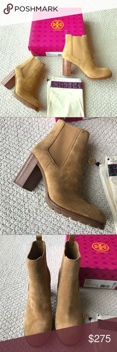 """Tory Burch- Stafford Suede Booties Hazel NWT So cute and perfect dressed up or down! Tory Burch """"Stafford"""" suede booties in Hazel tan color. Luxe Suede. A strip of leather trims the back with the Tory logo at the top. Elastic gore insets. Stacked heel and lugged sole. Made in Brazil. Heel measures 3"""". Brand new in box. Includes dust bag and box. No trades please! Tory Burch Shoes Ankle Boots & Booties"""