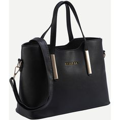 SheIn(sheinside) Black Metal Plate Embellished Tote Bag With Strap ($18) ❤ liked on Polyvore featuring bags, handbags, tote bags, tote handbags, embellished purses, convertible tote, embellished handbags and metal purse