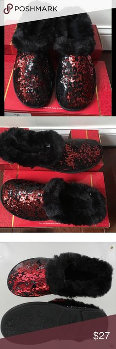 🆕🎉CHARTER CLUB SEQUIN CLOG MEMORY FOAM SLIPPERS Charter Club sequin clog memory foam slippers. Walk in style with theses black/red sequin trimmed in soft faux fur slippers. Slip these on for the ultimate in comfort and style. Indoor/outdoor sole. Clog slip on style. Charter Club Shoes Slippers