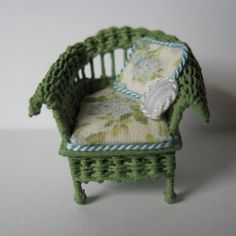 Quarter scale miniature wicker chair by CherylHubbardMinis on Etsy White Silk, Blue And White, Shabby Chic Cabin, Cushion Fabric, Rocking Chair, Cheryl, Seat Cushions, Blue Flowers, Wicker