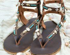Genuine Handmade Bohemian Leather Sandals by TribesBySaraK on Etsy