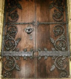 wood and metal door Door Hinges, Door Knockers, Door Knobs, Rustic Doors, Wooden Doors, Medieval Door, Castle Doors, Blacksmith Shop, Cool Doors