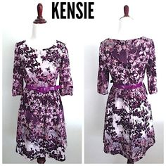 """KENSIE Violet floral sun dress Bust-34""""  Waist-26-27""""  Length-34""""  Sleeve-13"""" Sz small  Like NEW!! Gorgeous violet dress with mid sleeves. Great for all occasions. Design by Kensie.  Only selling #party #dress ss #midsleeves #floral violet #purple #paisley #designer #kensie #christmas #newyear Kensie Dresses"""