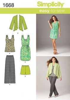 Go smart and summery for work in this ensemble. #Simplicity 1668 #sewing #pattern #stitching #top #trousers #jacket #dress #shirt #dressmaking