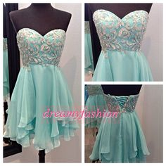 2014 Homecoming Dresses Sweethart Light Blue Chiffon Beading Crystal Short Prom Dresses Cocktail Party Gowns $139.00