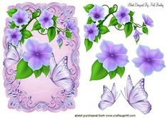 PRETTY LILAC FLOWERS WITH BUTTERFLIES on Craftsuprint - Add To Basket!