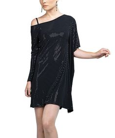 Take a look at this Black Asymmetrical Dress - Women by Clara Sunwoo on #zulily today!