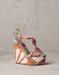 PRINTED CANVAS BIANCA WEDGE | Dolce&Gabbana Online Store