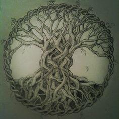 My original sketch for Robs celtic tree tattoo -JG