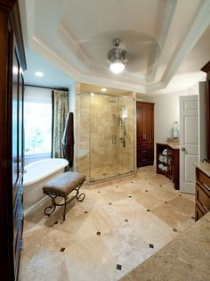 additional view to include soaker tub, we used an 18x18 travertine tile purchased at Costco and then cut it in half for the shower to make 9x18 subway shaped tile. That saved a lot of money on tile