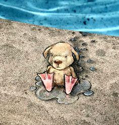 """David Zinn's """"Ah-h, sun, sand and water. What could be better! 3d Street Art, Street Art Graffiti, Street Artists, David Zinn, Banksy Graffiti, Graffiti Artists, Graffiti Lettering, Chalk Pictures, Chalk Artist"""