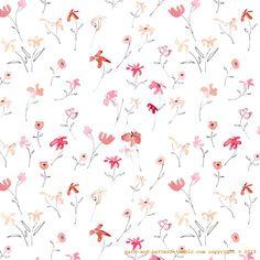 watercolor flower doodle pattern