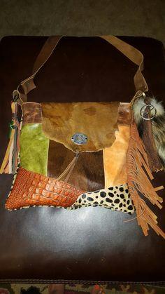 Funky orange crocodile leather fringe purse
