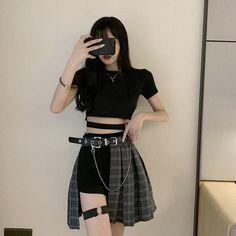 Gothic Fashion 847169379893439995 - Gothic Plaid Skirt Shorts Belt Chain Irregular Hollow Source by Egirl Fashion, Kpop Fashion Outfits, Edgy Outfits, Cute Casual Outfits, Korean Outfits, Grunge Outfits, Fashion Ideas, Gothic Fashion, Goth Girl Outfits