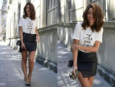 Leather skirt and tee