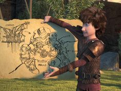 Hiccup holding a map of Dragons Edge that he and his friends will create from Dreamworks Dragons: Race to the Edge