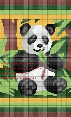 grille gratuite pour un tapis : panda Cross Stitching, Cross Stitch Embroidery, Cross Stitch Patterns, Crochet Cross, Filet Crochet, Pixel Art, Panda Craft, Graph Paper Art, Cat Cushion