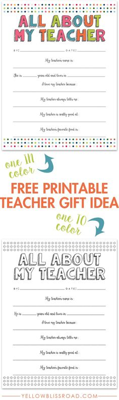 Free Printable Teacher Gift Idea - Great for a class gift too!