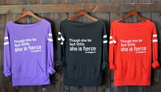 ♥︎ Though She Be But Little She Is Fierce. Shakespeare Quote Sweater. 7 Colors to Choose From. Wide Shoulder Sporty Tee. Womens Quote Sweater. Firedaughter Clothing ♥︎  Though She Be But Little, She is Fierce. -Shakespeare  Introducing my new wide or off the shoulder sporty football-style kangaroo pocket long sleeved tee! The perfect combination of sexy and sporty- thats FD!  100% made in the USA, from the knitting of the raw materials to dyeing,to cut and sew, to printing with…