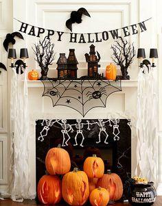 2014 Skeleton Spider Web Pumpkin Halloween Fireplace  - Happy Halloween Banner,House, Bat  #2014 #Halloween