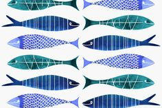 Margaret Berg Art: Long+Fishies+Surface+Pattern