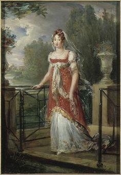 1807 Caroline Murat représentée se promenant dans les jardins de son château de Neuilly by François-Pascal-Simon Gérard (Versailles) Photo - Gérard Blot