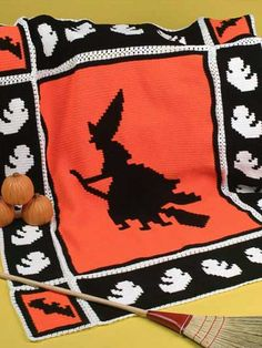 Halloween Afghan Witch Ghosts Bats Holiday Blankets Warmth Spirits Spooks RARE for sale online Crochet Afghans, Afghan Crochet Patterns, Crochet Stitches, Crochet Blankets, Crochet Fall, Holiday Crochet, Knit Crochet, Thanksgiving Crochet, Easy Crochet