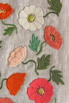 Make two beautiful Samplers with our Poppy Garden Embroidery Kit. This one captures the merriment of wild poppies with colorful wool-felt… Embroidery Stitches For Leaves Embroidery Thread Or Floss! images of hand embroidery patterns Embroidery Machine F Garden Embroidery, Crewel Embroidery Kits, Hungarian Embroidery, Brazilian Embroidery, Japanese Embroidery, Learn Embroidery, Silk Ribbon Embroidery, Hand Embroidery Patterns, Vintage Embroidery