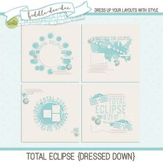 Total Eclipse {Dressed Down} templates are designed for documenting the solar eclipse that will be viewable throughout the United States on August 21, 2017. Filled with a variety of die cut shapes, paint, and viewing glasses, these templates are a perfect way to show off your viewing partie...