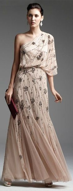 Black Tie Affair: Adrianna Papell Dress & Accessories mother of the bride dress? Beautiful Gowns, Beautiful Outfits, Gorgeous Dress, Dress Skirt, Dress Up, Nude Dress, One Shoulder Gown, Evening Dresses, Formal Dresses