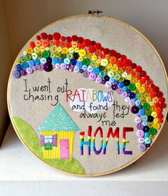 Rainbow button embroidery