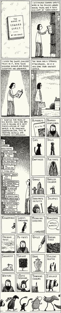 Cabanon Press: Tribute to Edward Gorey Edward Gorey, Art Jokes, Libraries, Inspire Me, Storytelling, Illustrators, My Books, Literature, Illustration Art
