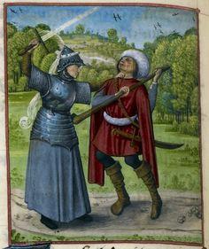 Detail of a miniature of Franchise fighting Danger, Harley MS 4425, f. 134v. c 1490-c 1500  Title Guillaume de Lorris and Jean de Meun, Roman de la Rose