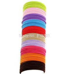 Shipping100pcs gratuites / lot 50 mm mince bonbons couleur enfant cheveux bandes porteurs de caoutchouc noir élastiques fille femmes Tie Gum