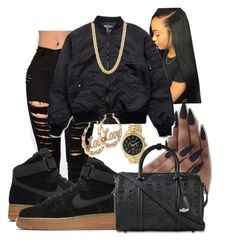 """"""""""" by kashharmonii ❤ liked on Polyvore featuring NIKE, Michael Kors, MCM and BOY London"""