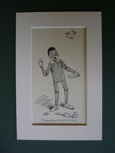 Original 1953 Print Of Pinocchio Vintage by PrimrosePrints