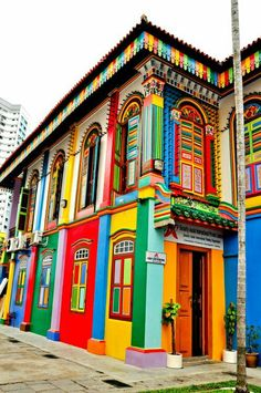 "This beautiful colorful building is located in little India, Singapore. The architecture is very vintage looking, however the colours do give a modern and ""summery"" vibe. These summer colours go well with Singapore's hot weather. Colourful Buildings, Beautiful Buildings, Beautiful Places, Colorful Houses, Unusual Buildings, Colourful Art, Beautiful Streets, Amazing Places, Little India Singapore"