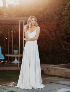 Wedding Dress.  Sarah Seven. Province: Flowing, lightweight, spaghetti straps, v-neck neckline, a-line waist. Modern, simple, stunning, elegant, editorial.