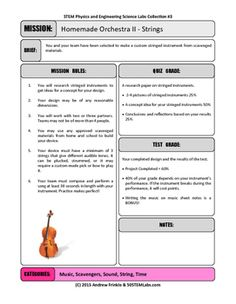 Challenge your students to design a homemade string instrument and learn to play a tune!This page is a printable rubric and lesson plan to use, explaining the quiz and test grades associated with the project. Adjust as needed for your class!This project is part of 50 New STEM Labs