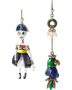 SHIP SHAPE MISMATCH PIRATE AND PARROT EARRINGS MULTI accessories jewelry earrings fashion