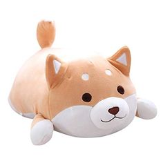 689103e412 Corgi Dog Plush Toys Big Buttocks Corgi Pillows Lying Dog Dolls Sleeping Cute  Stuffed Toys (Brown-Circle eyes, L)