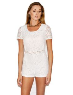 White Floral Lace Pleated Playsuit /// Daily Edit! 14-08-14