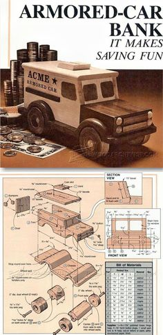 Wooden Armored Car Bank - Children's Wooden Toy Plans And Projects photo ideas from Amazing Cars Photo Wooden Toy Trucks, Wooden Car, Wooden Toys, Wooden Projects, Wooden Crafts, Woodworking Toys, Woodworking Projects, Armored Vehicles, Armored Car